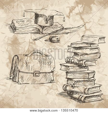 Back to School. Freehand drawing school elements on the old paper background. Schoolbooks and notebooks. Learning lessons. Vector illustration.