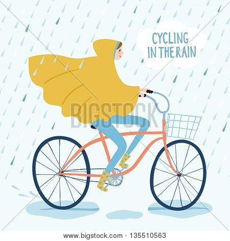 Girl in raincoat riding on a bicycle under the rain. Cycling in the rain title. Hand drawn cartoon illustration.