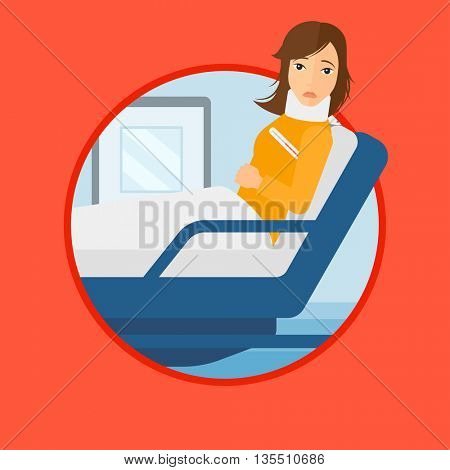 Woman suffering from neck pain. Young woman with neck injury lying in bed in hospital ward. Woman with neck brace at hospital. Vector flat design illustration in the circle isolated on background.
