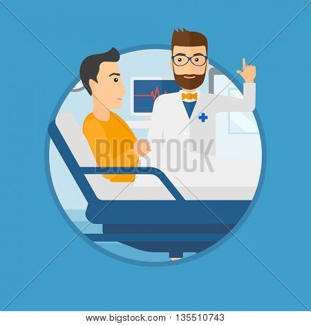 Hipster doctor visiting male patient at hospital ward. Doctor pointing finger up during consultation with patient in hospital room.Vector flat design illustration in the circle isolated on background.