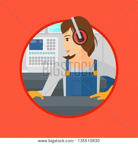Woman working on metal press machine. Worker in headphones operating metal press machine at workshop. Woman using press machine. Vector flat design illustration in the circle isolated on background.