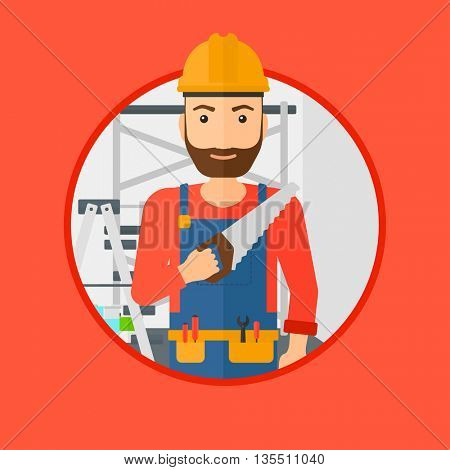 A hipster worker with the beard holding a saw in hand. A man in overalls and hard hat with saw in apartment. Vector flat design illustration in the circle isolated on background.
