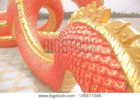 Red Naga staircase At Wat Samarn temple in Chachoengsao province Thailand.