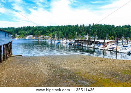 Gig Harbor, Wa - September 25, 2011: Small Town Downtown Marina Area.
