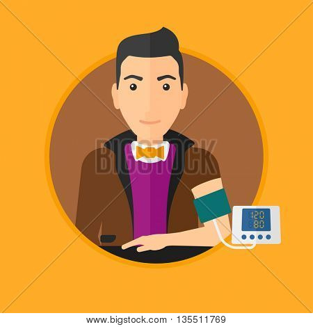 Man checking his blood pressure with digital blood pressure meter. Man taking care of his health and measuring blood pressure. Vector flat design illustration in the circle isolated on background.