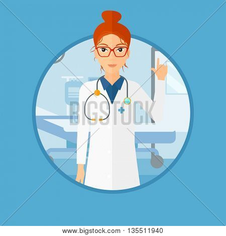 Doctor in medical gown showing finger up. Doctor with finger up in the hospital ward. Woman in doctor uniform pointing finger up. Vector flat design illustration in the circle isolated on background.