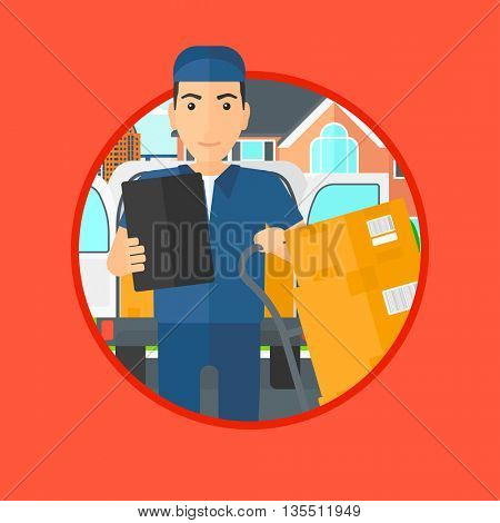 Delivery man with cardboard boxes on troley. Delivery man with clipboard. Delivery man standing in front of delivery van. Vector flat design illustration in the circle isolated on background.