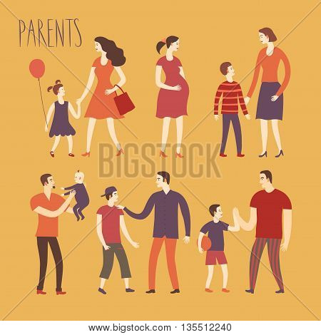 Set of cartoon people.Parents with kids. Including man woman teenagers babies adults. Characters illustrations about love and support n family for your design.