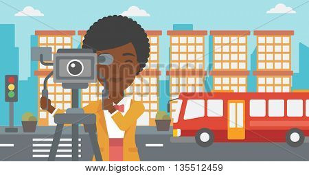An african-american camerawoman looking through movie camera on a city background vector flat design illustration. Horizontal layout.
