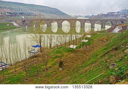 The Dicle Bridge over the Tigris River was the first islamic bridge in Anatolia Diyarbakir Turkey.