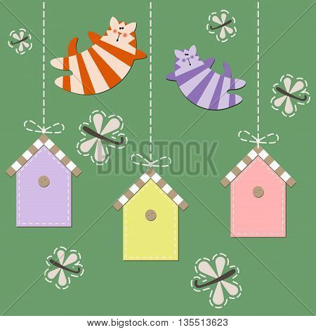 March cats fly over starling houses. Vector illustration