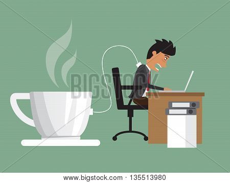 business man hard working with need a power charging from coffee. Man plugs in to coffee cup for charge. business concept vector illustration.