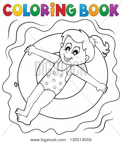 Coloring book girl on swim ring - eps10 vector illustration.