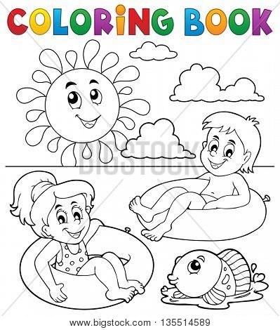 Coloring book children in swim rings 1 - eps10 vector illustration.