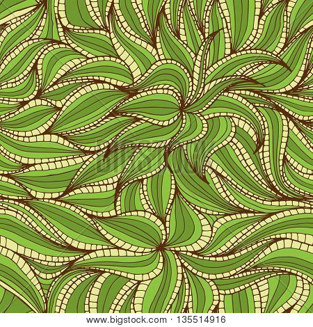 Abstract hand-drawn seamless pattern with dense vegetation. Leaves. Can be used for background, pattern fills surface textures web page backgrounds textile and more.