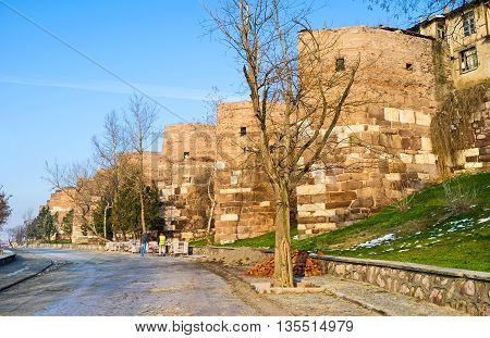 The huge stone ramparts of Hisar Castle are the notable landmark of Ankara Turkey.