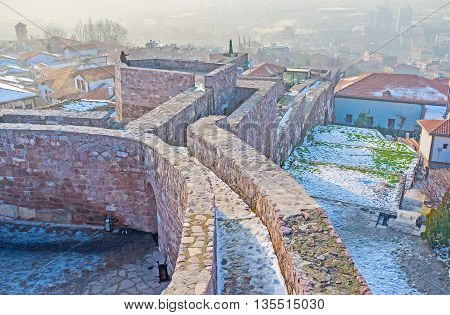 The large citadel complex of Ankara is the famous city landmark popular among the tourists Turkey.