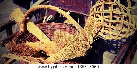 Brooms Of Sorghum, A Carpet Beater And Wicker Containers For Sal