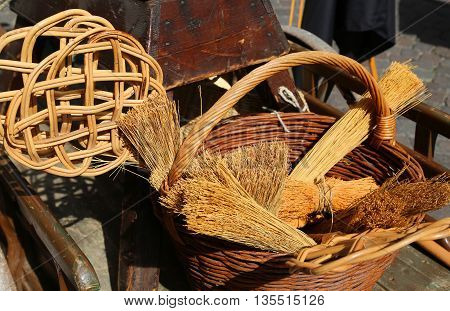 Broom Of Sorghum, Carpet Beater And Wicker Containers