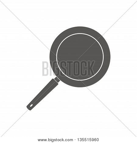 Pan icon cooking steel home kitchen equipment pot isolated on white background. Cooking pan icon and food preparing handle metal pan cartoon. Kitchenware pan icon restaurant preparing food in flat style.