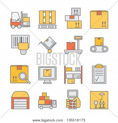 Big set of modern thin line color icons for warehouse stock and industrial storage isolated on background. Vector illustration