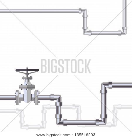 Abstract background with flat designed pipeline and valve on pipe . Concept for web newsletters water, wastewater or oil pipeline industry. Vector illustration.