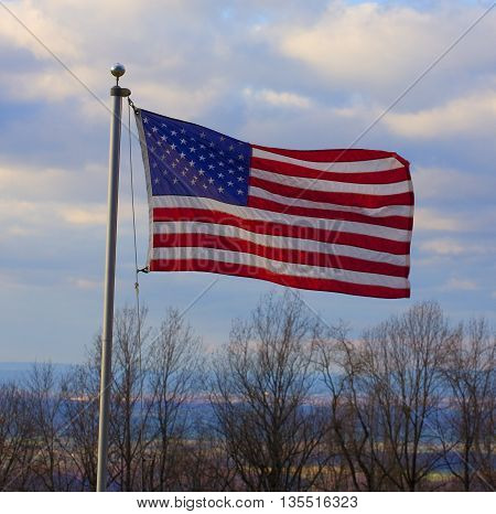 Stars and stripes flying high above the Shenandoah River Valley on the Blue Ridge