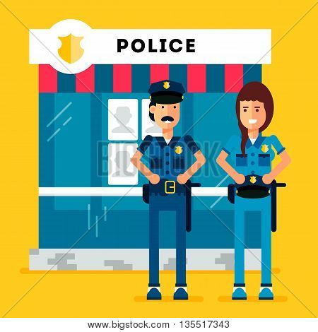 City police station department building with policeman and woman and police car in flat style isolated on good yellow background