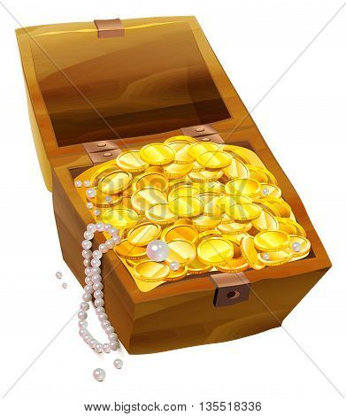 Open old chest with gold coins and pearls. Pirate Treasure Chest. Isolated on white vector cartoon illustration