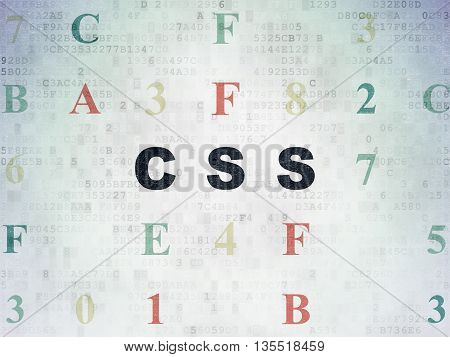 Programming concept: Painted black text Css on Digital Data Paper background with Hexadecimal Code
