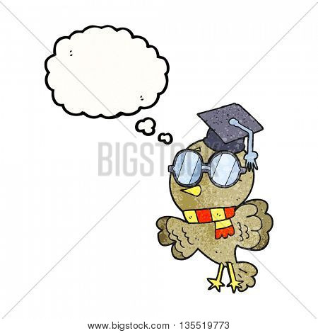 cute freehand drawn thought bubble textured cartoon well educated bird