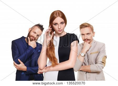 Love triangle. Young beautiful woman choose from to handsome men isolated at white. Hard choice, lover, husband. Adultery, relationship issue, love problem concept. Girl think who to choose.