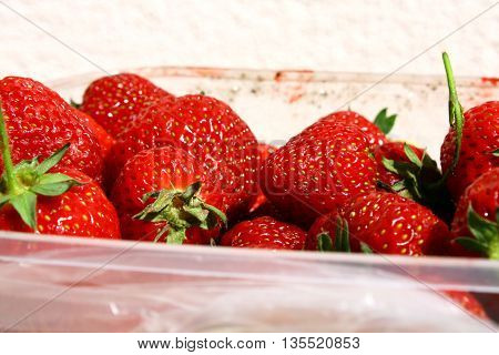 freshly picked strawberries from the garden full of vitamins