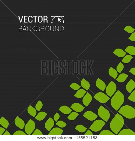 Branch With Fresh Green Leaves Green Plant Background Vector Tree Forest Eco