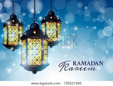 Ramadan Lantern Or Fanous With Ramadan Kareem Greetings In A Blurry Blue Background. 3D Realistic Ve
