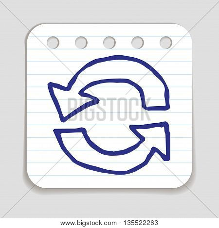 Doodle Recycle Arrows icon. Blue pen hand drawn infographic symbol on a notepaper piece. Line art style graphic design element. Web button with shadow. Loading, reload, pre-loader, ecology concept.