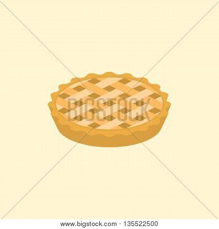 crust pie illustration, flat design clear background