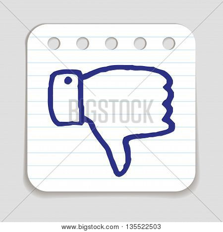 Doodle Thumbs Down icon. Blue pen hand drawn infographic symbol on a piece of notepaper. Line art style graphic design element. Web button with shadow. Disapproval, dislike, vote down gesture concept