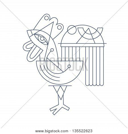 original flat line art drawing of geometric rooster, vector illustration