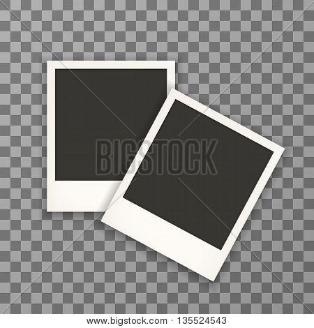 Two photo frame retro . Photo frame isolated on a background. Photo frame mock up. Photo frame border. Photo frame on plaid background. Photo frame retro. Photo frame - stock vector. EPS 10