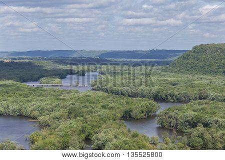 A river landscape with the Wisconsin River emptying into the Mississippi River.
