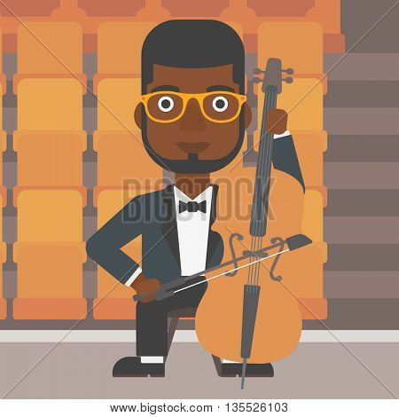 An african-american man playing cello on the background of empty theater seats vector flat design illustration. Square layout.