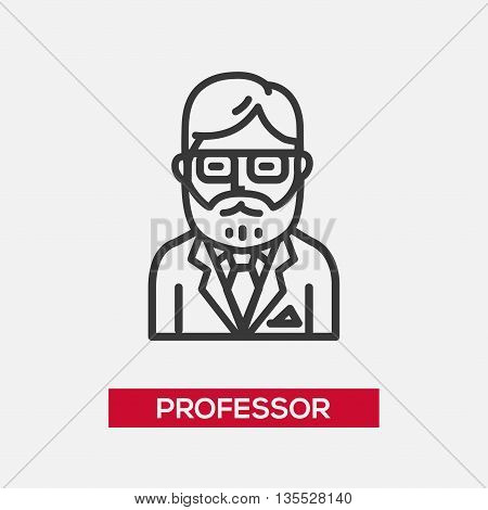 Professor single isolated modern vector line design icon with a male teacher, tutor