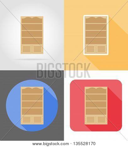 bookcase furniture set flat icons vector illustration isolated on white background