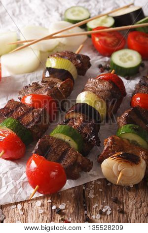 Tasty Kebab With Vegetables On Skewers Close-up. Vertical
