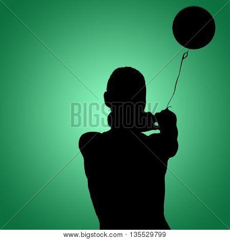 Sportswoman throwing a hammer against green vignette
