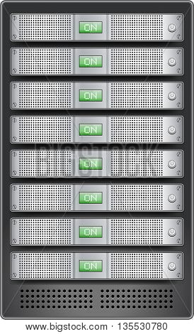 Servers in installed in rack. 1U size servers with ON displayed on monitor and inserted in server rack. Vector illustration