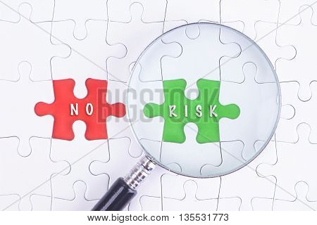 BUSINESS CONCEPT - Magnifying glass on missing puzzle with a word NO and RISK.