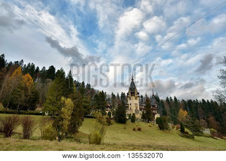 Peles Castle from Romania. The Romanian Royal Residence from Carpathian Mountains in Europe