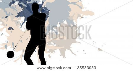 Sporty man playing at hammer throw against different black silhouette